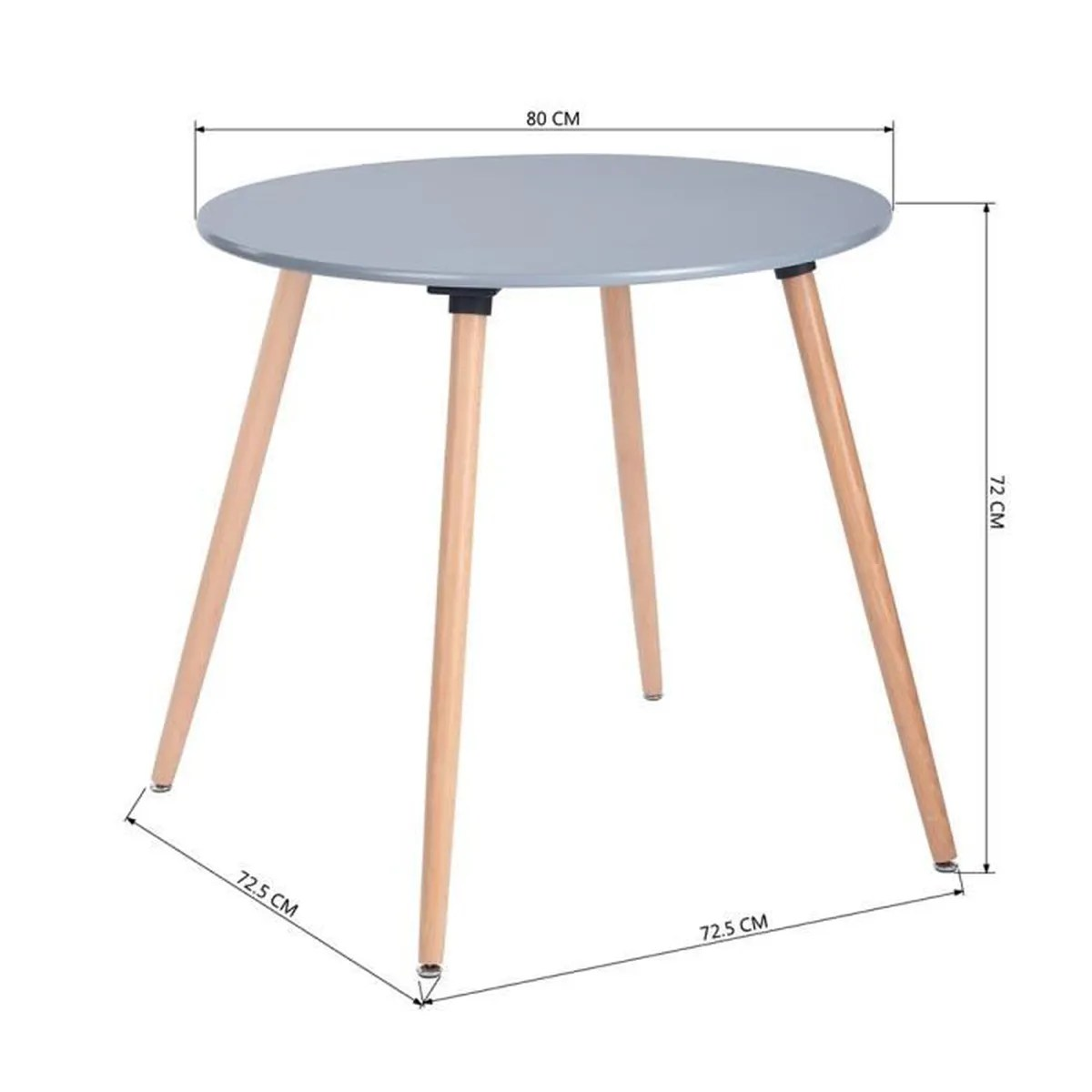 Table Ronde 80 Cm Table à Manger Table De Cuisine Ronde 80cm Table De Salon Table De Travail Pieds En Bois Pour Maison Gris