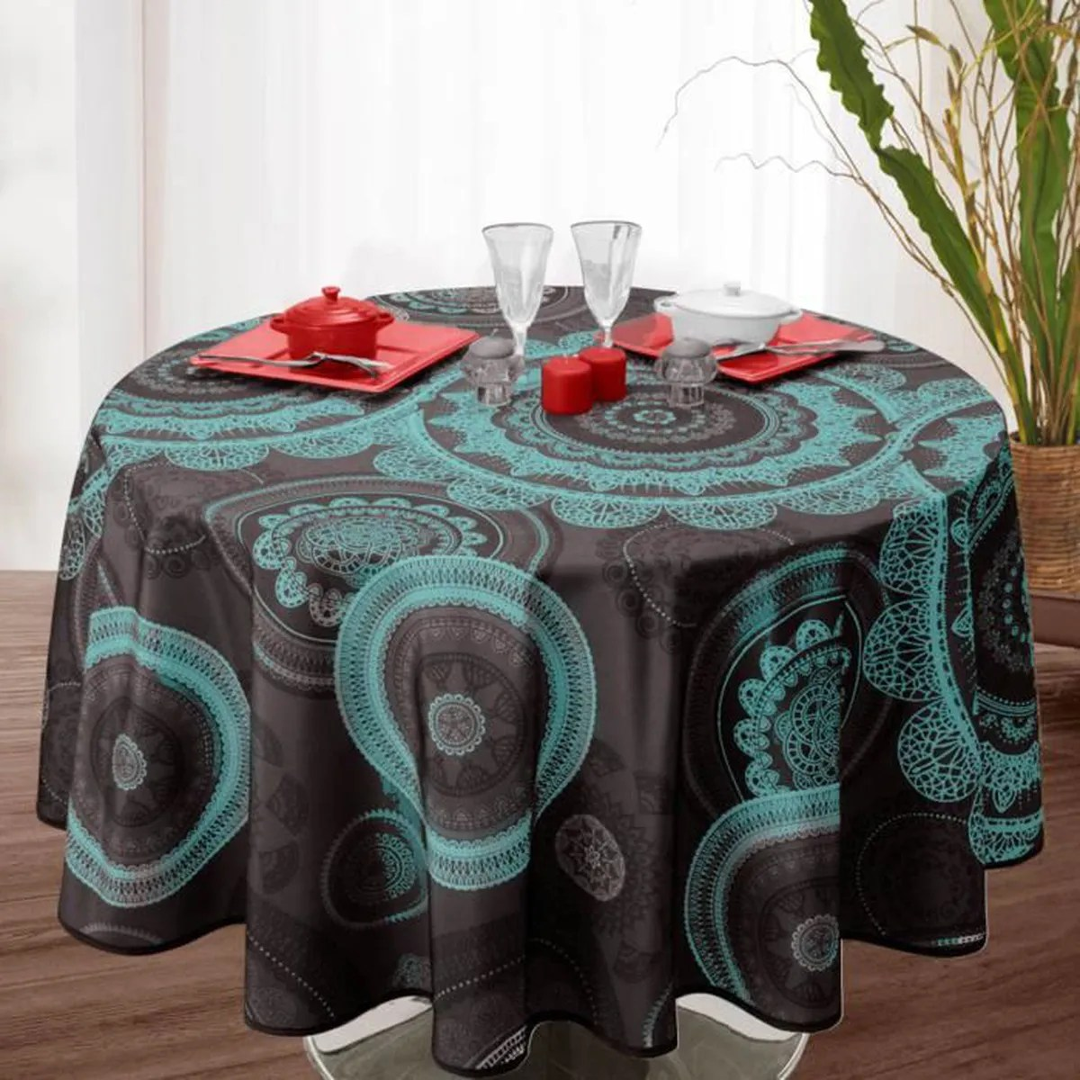 Nappe De Table Ovale Nappe De Table Ovale Mandala 150x240cm Bleu Antitache Achat