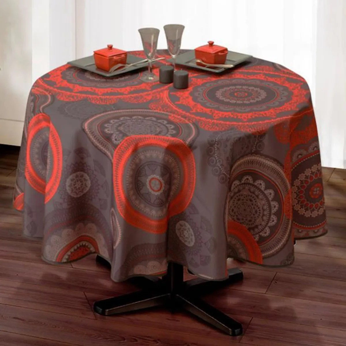 Nappe De Table Ovale Nappe De Table Ovale Mandala 150x240cm Rouge Antitache Achat