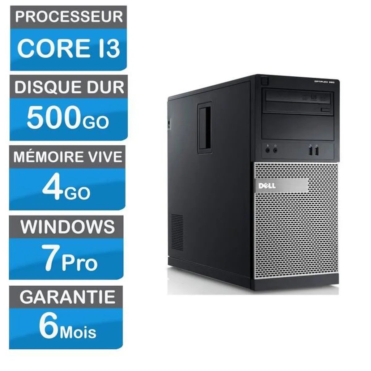 Bureau Pc Fixe Pc Fixe Dell Optiplex 390 Corei3 3 40 Ghz 4go Ram 500go Hdd Win7