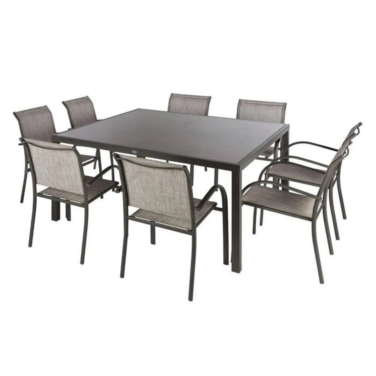 Table Carrée 8 Personnes Dimensions Table Carrée En Aluminium De Coloris Taupe Mastic Dim