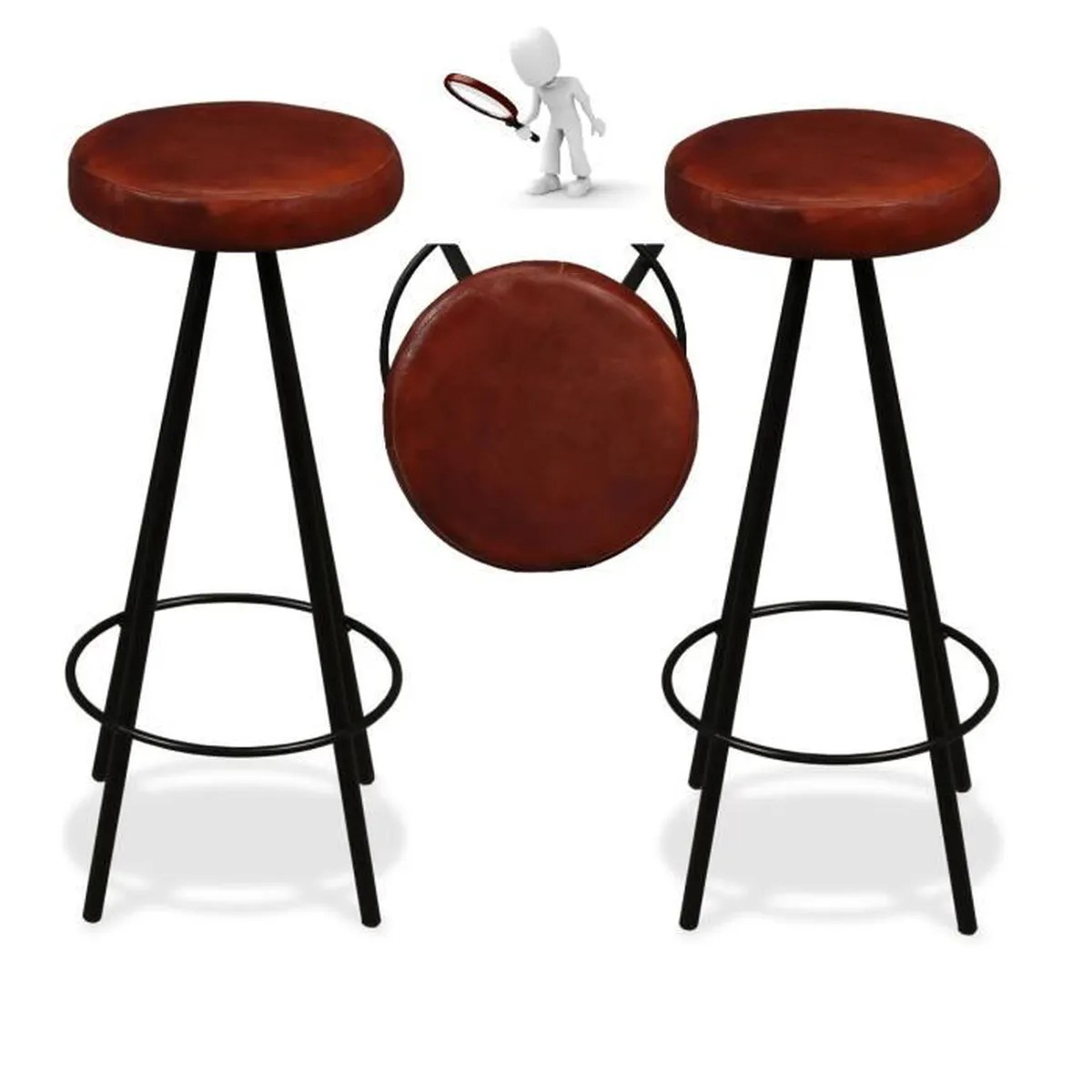 Tabourets De Bar New Cab Ensemble Tabouret De Bar Retro Vintage En Cuir Et