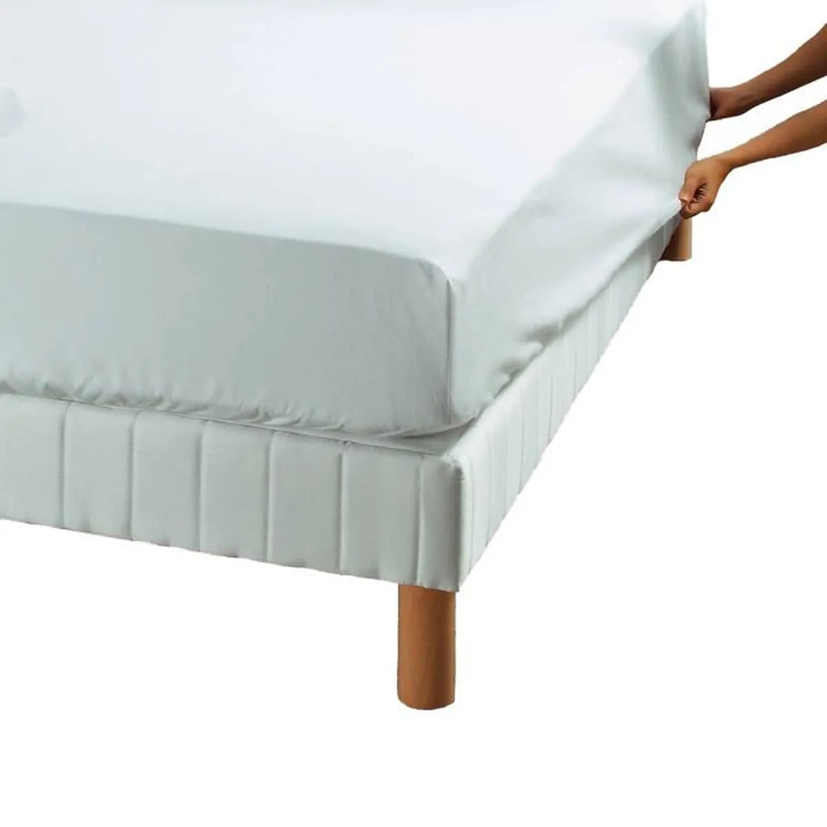 France Literie Tours Protège Matelas Housse Molleton 210gr M² Made In France 180 X