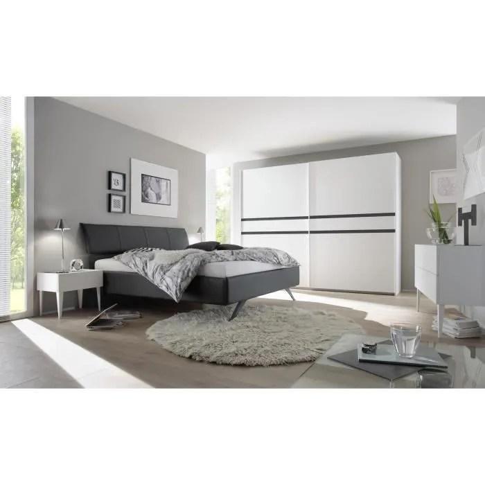 Chambre adulte design blanc mat/gris foncé Bizance II-180 x 200 cm