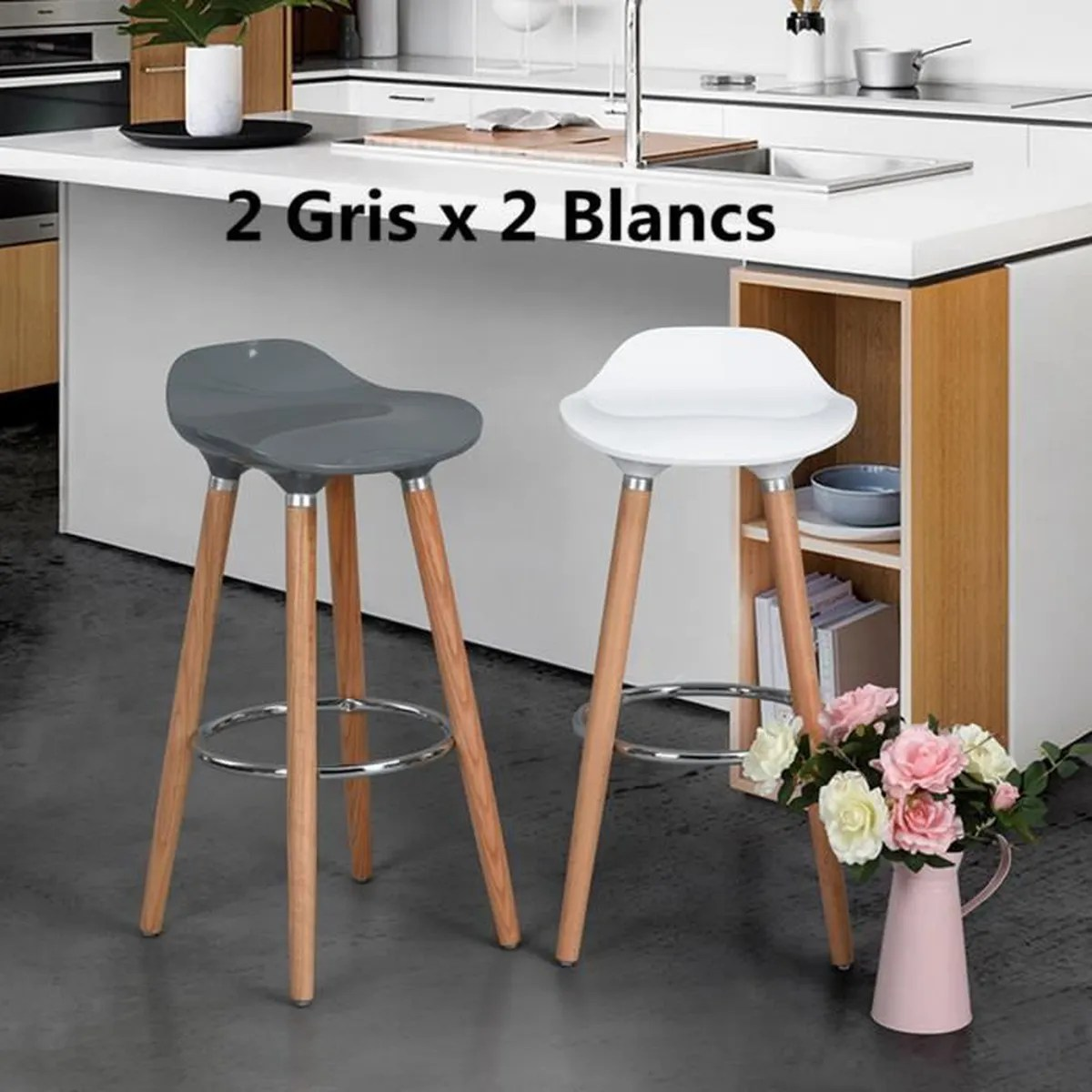 Songmics Lot De 2 Tabourets De Bar Stool Lot De 2 Tabourets De Bar Gris X 2 Tabourets De Bar Blancs