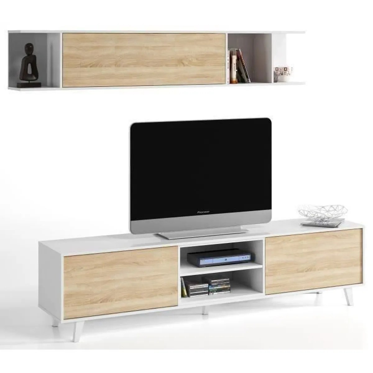 Meuble Tv Scandinave Gaby Sonoma Et Blanc Meuble Tv Scandinave Led Meuble Tv Dainn Design Scandinave