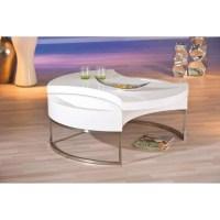 Table basse ronde avec rangement coloris blanc et acier ...