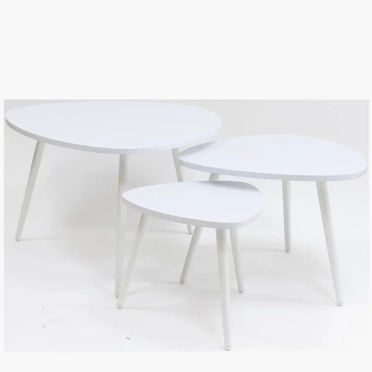 Table Basse Couleur Table Gigogne Forme Galet Set De 3 Couleur Blanche