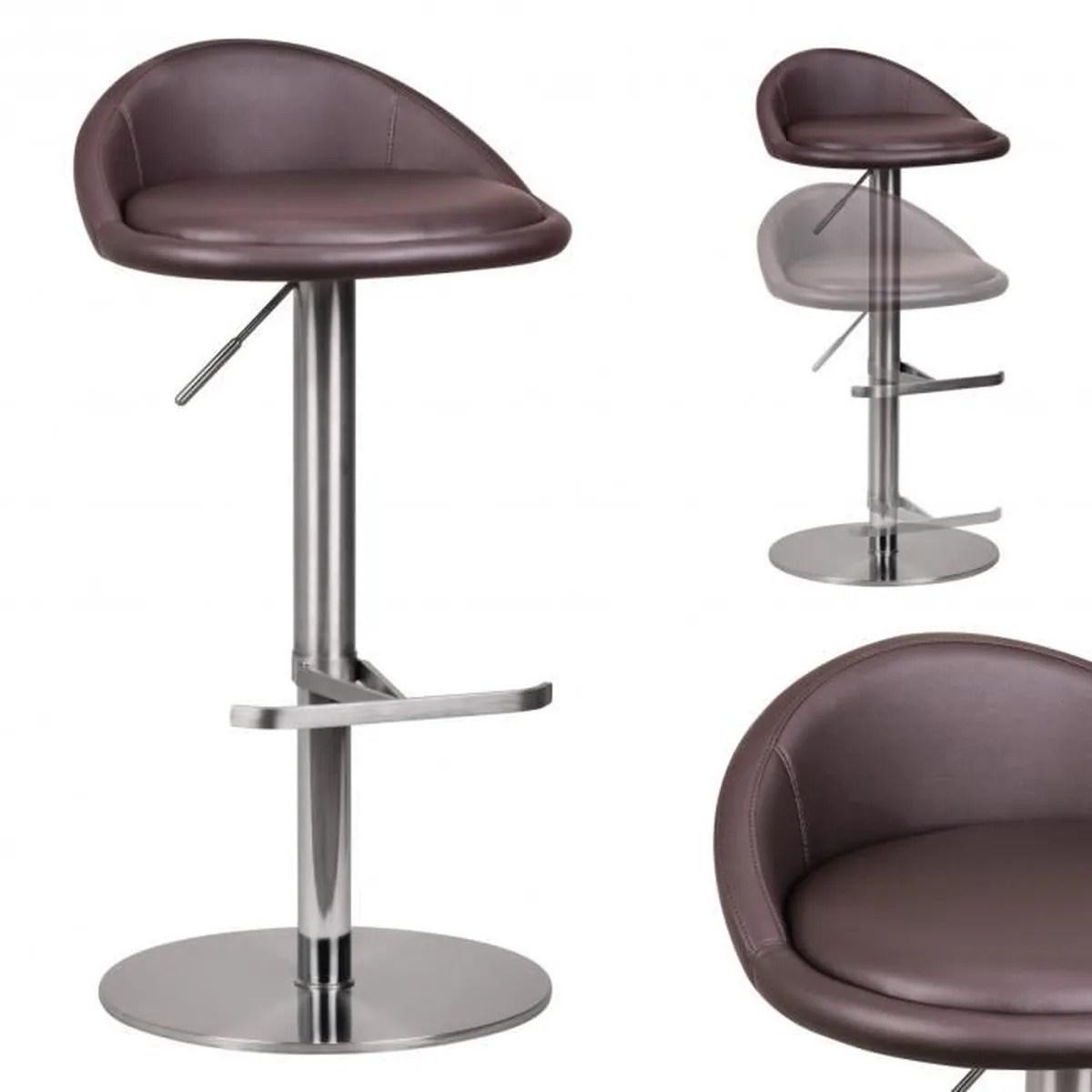 Wohnling Acier Inoxydable Durable M1 Barstool Brun Chaise Tabouret Bar Contemporain Design Reglable Est Rotatif