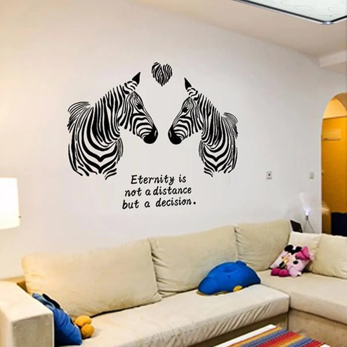 Decoration Murale Zebre Zebre Unique Dans L Herbe Sauvage Blanc