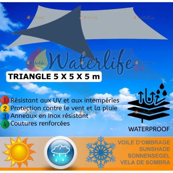 Store Banne Cdiscount Voile D'ombrage 5x5x5m Imperméable Toile Taud - Achat