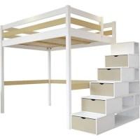 Lit Mezzanine Sylvia avec escalier cube bois - Couleur ...