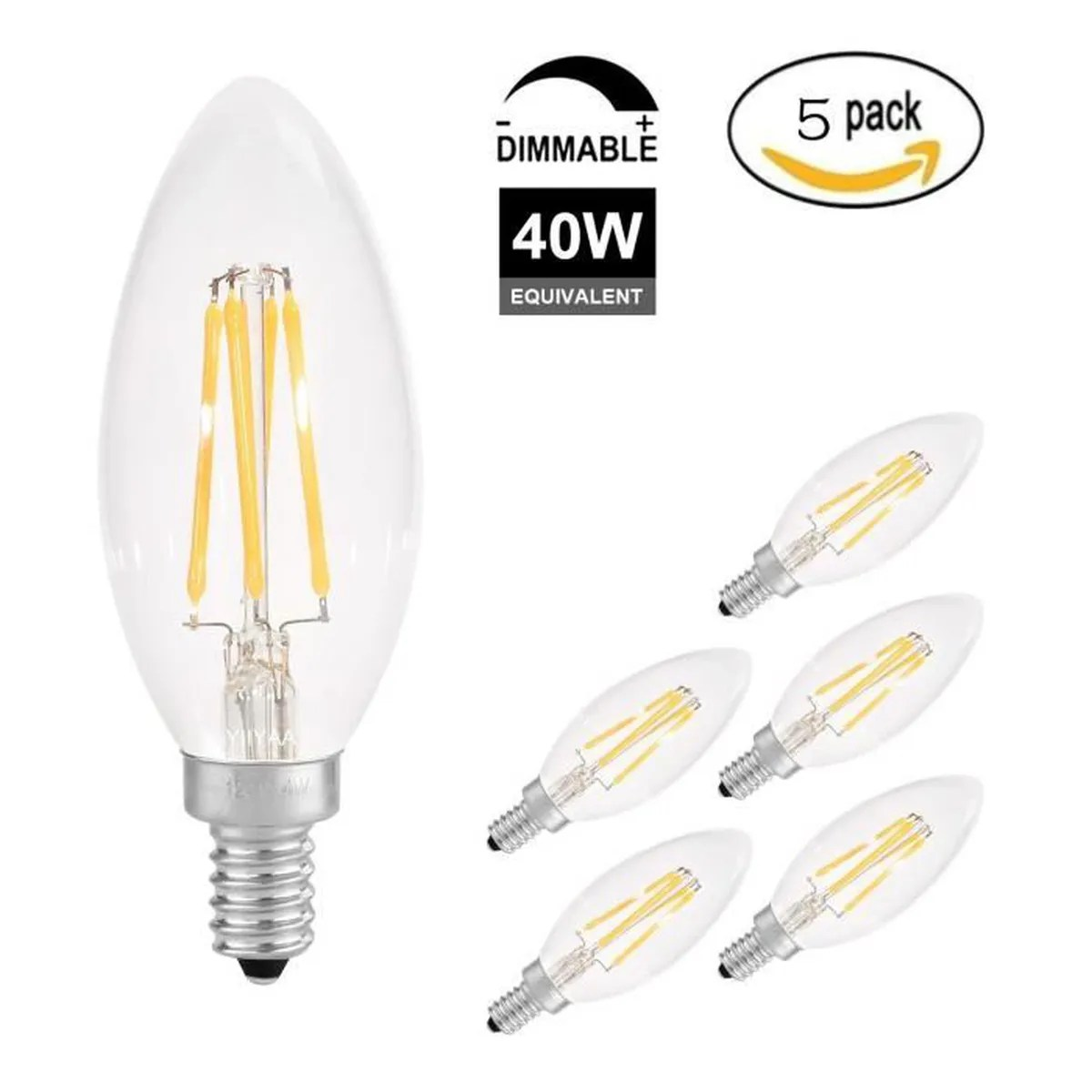 Ampoule Led Dimmable Chandelier Ampoule Led Dimmable E14 Base 4w 40w 230v 2700k Blanc