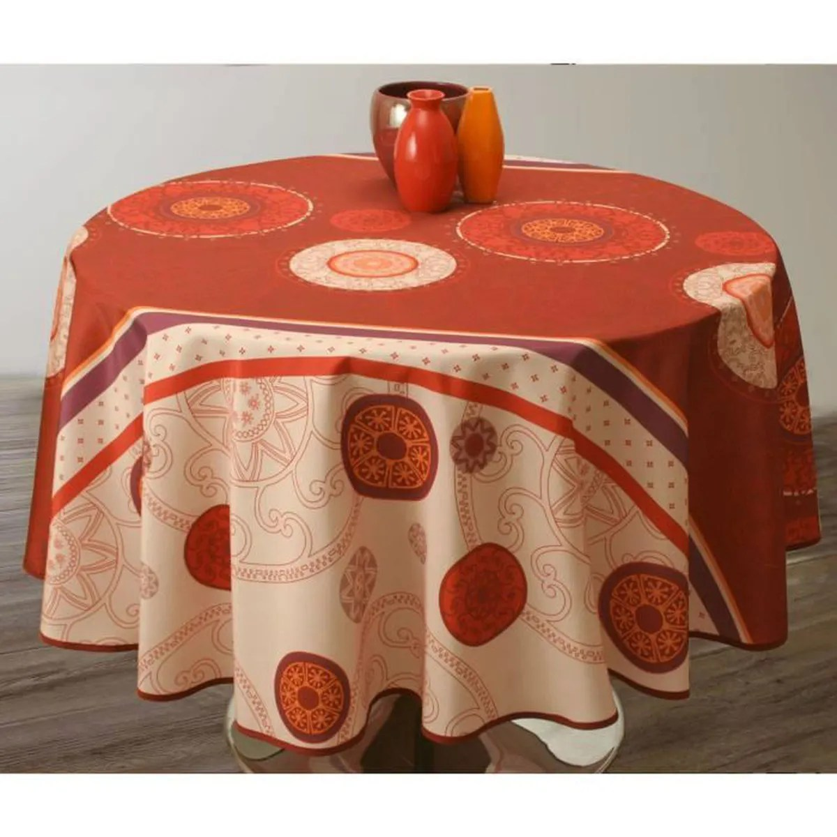 Nappe De Table Ovale Nappe De Table Ovale Tzigane 150x240cm Rouille Antitache