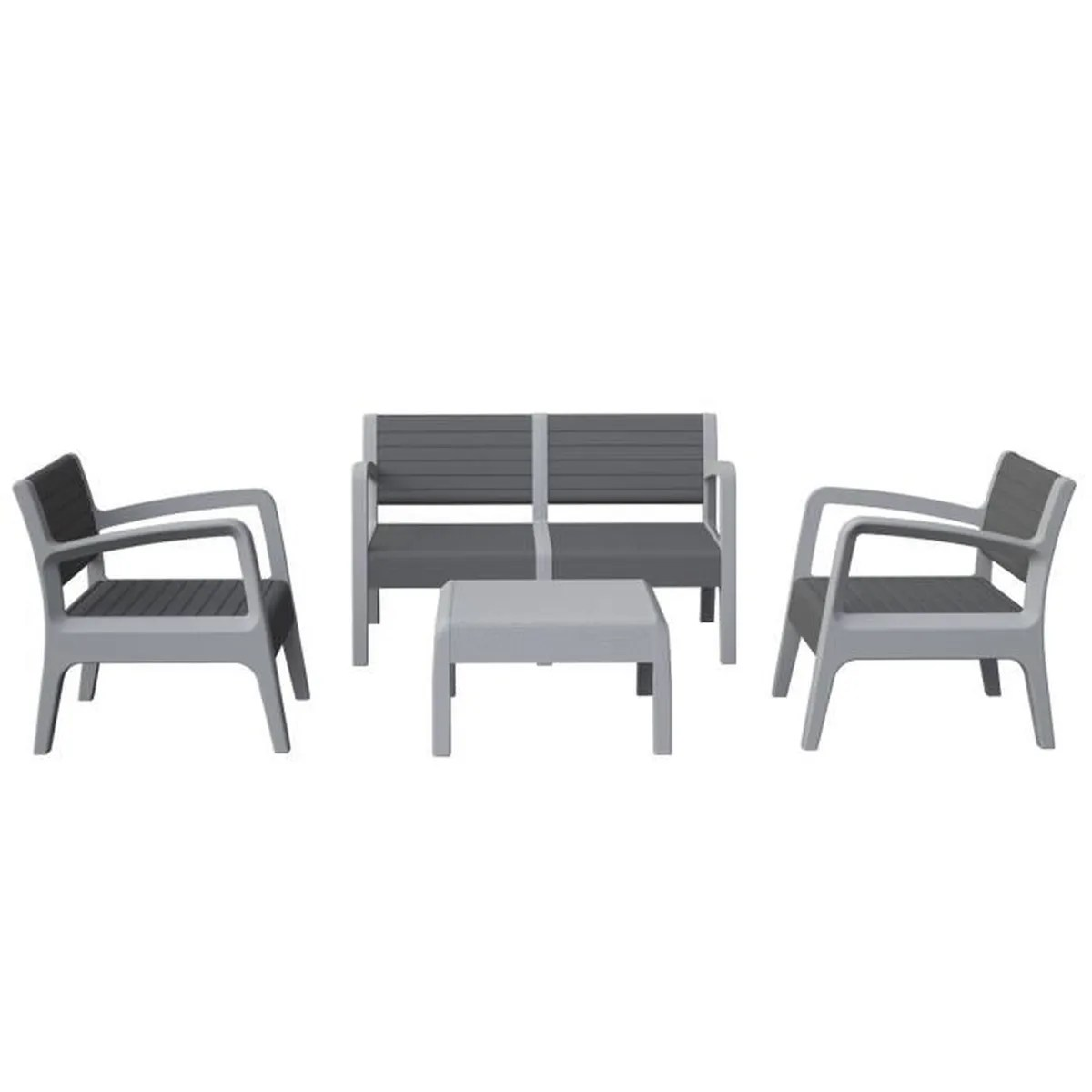Salon De Jardin Miami Ensemble Miami Canapé 2 Fauteuils 1 Table Basse Gris Anthracite