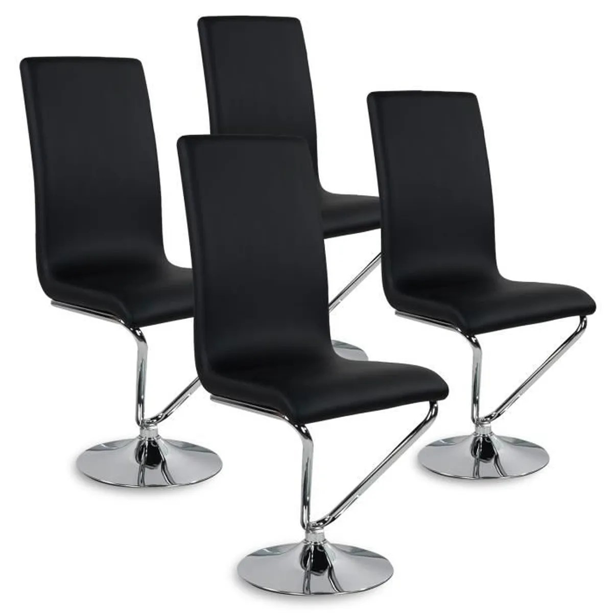 Lot De Chaises Design Lot De 4 Chaises Design Colami Noir Achat Vente Chaise Noir