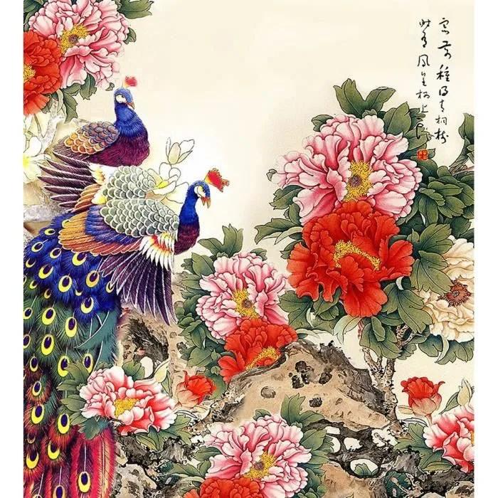 Peacock Wallpaper 3d Peinture Chinoise Puzzle 500 Pcs Peacock Amp Pivoine Jigsaw