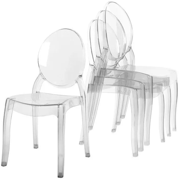 Lot De 6 Chaises Transparentes Lot De 4 Chaises Transparent En Plexi Ronda - Achat