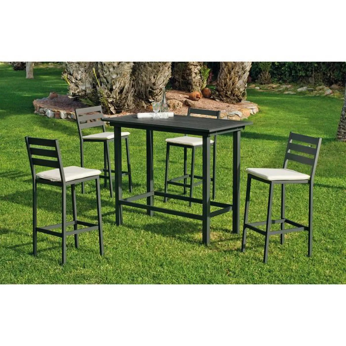 Chaises Hautes Bar Ensemble De Jardin Galicia 1 Table Bar 4 Chaises Hautes Anthracite