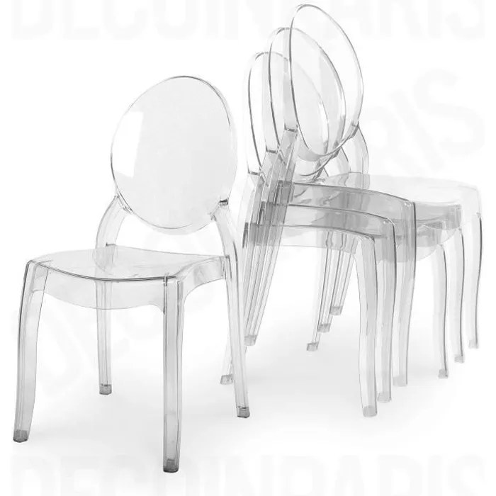 Lot De 4 Chaises Transparentes Lot De 4 Chaises Transparentes - Achat / Vente Lot De 4