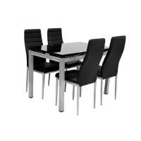 Table + 4 chaises + 2 rallonges Plato Noir - Achat / Vente ...