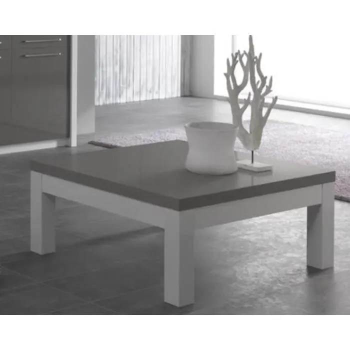 Salon Carré Table Basse De Salon Carre Fano Blanc-gris - Achat / Vente