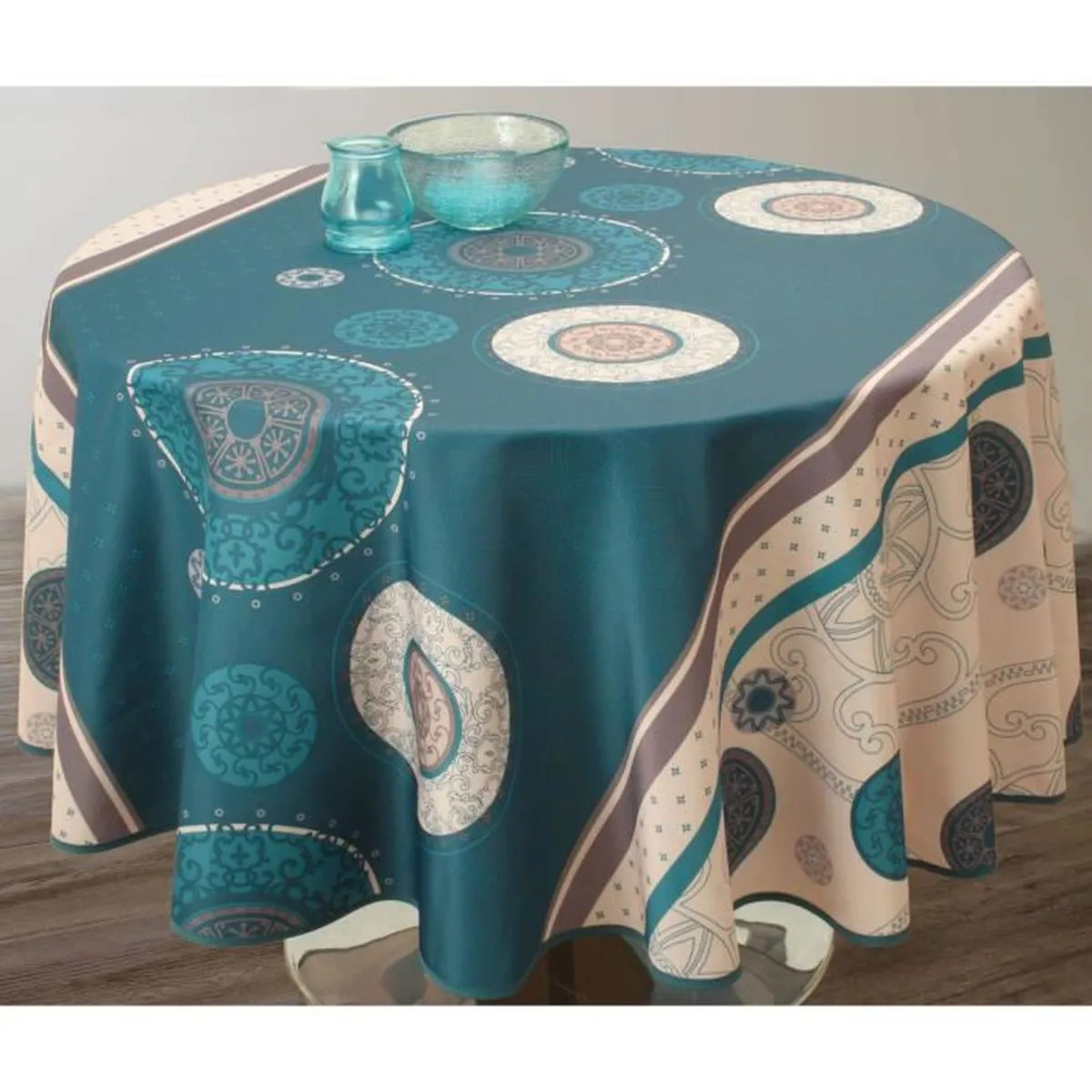 Nappe De Table Ovale Nappe De Table Ovale Tzigane 150x240cm Turquoise Antitache