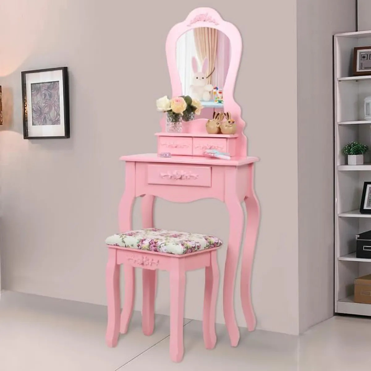 Amazon Meubles Chambre Songmics Coiffeuse Table De Maquillage Rose Style