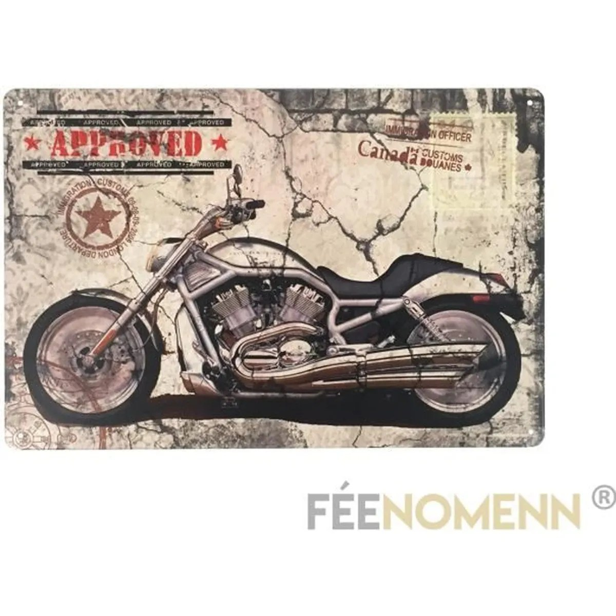 Decoration Maison Moto Plaque Métal Déco Vintage Moto Approved 20x30cm