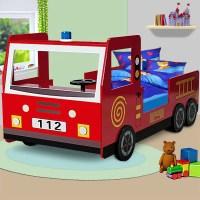 Lit enfant design camion pompier avec sommier - Achat ...