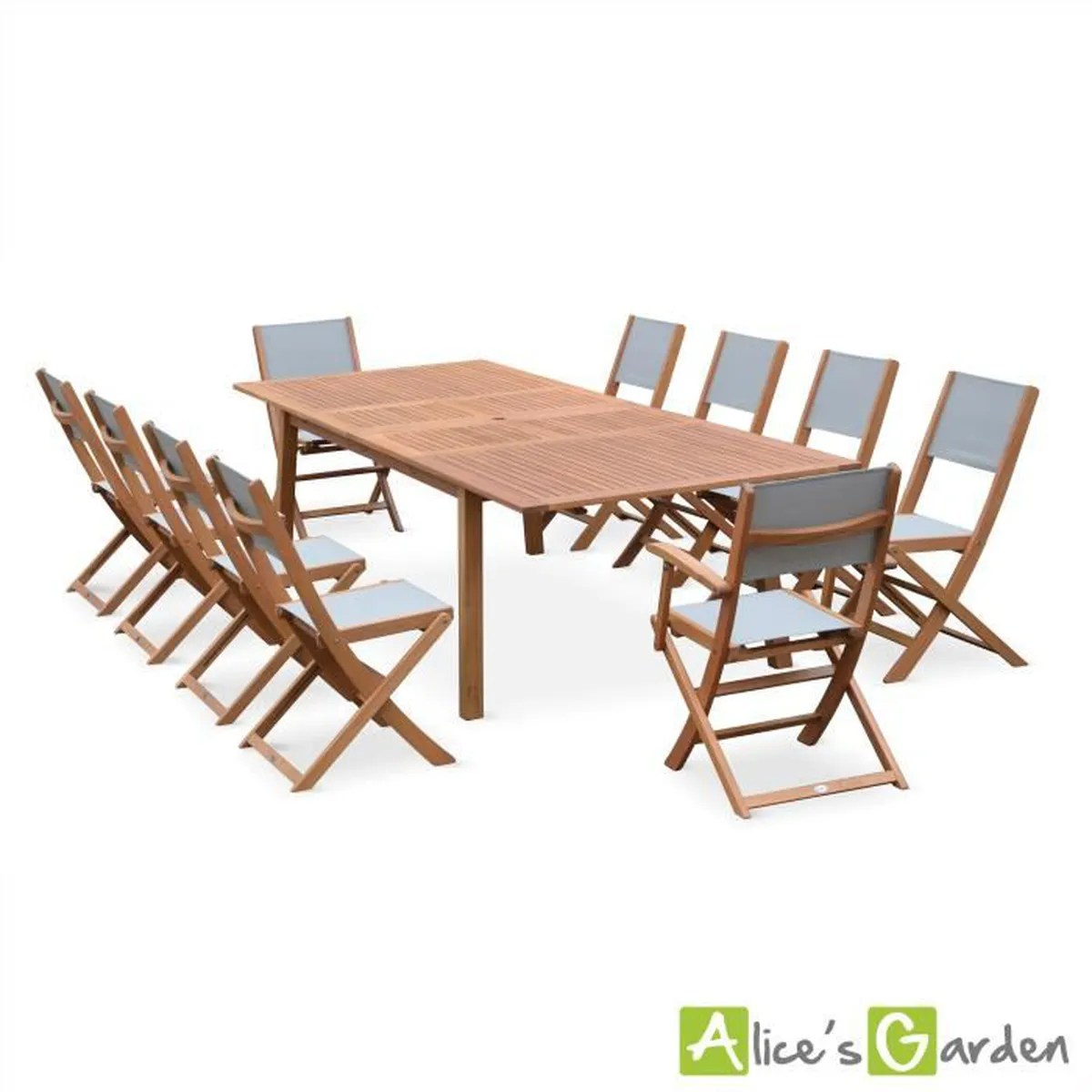Alice S Garden Salon De Jardin Aluminium Table 180cm 8 Fauteuils En ...