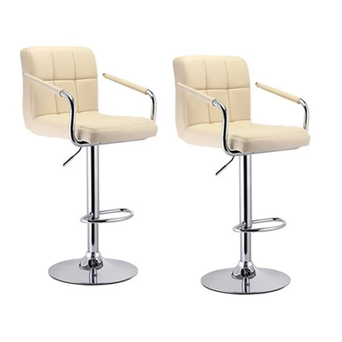 Tabourets De Bar Z Lot De 2 Tabouret De Bar Beige Tabouret De Chaise Chrome Hauteur Réglable