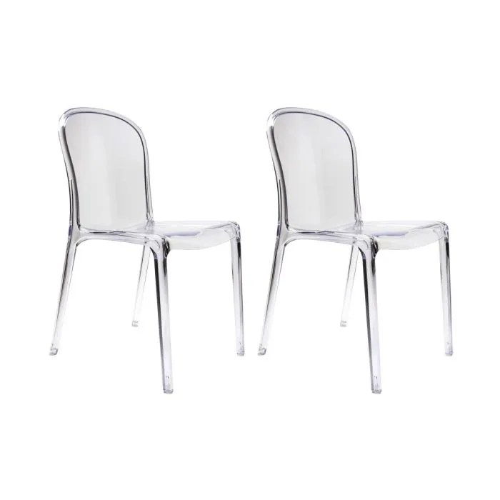 Lot De 4 Chaises Transparentes Miliboo - Lot De 2 Chaises Design Transparentes… - Achat