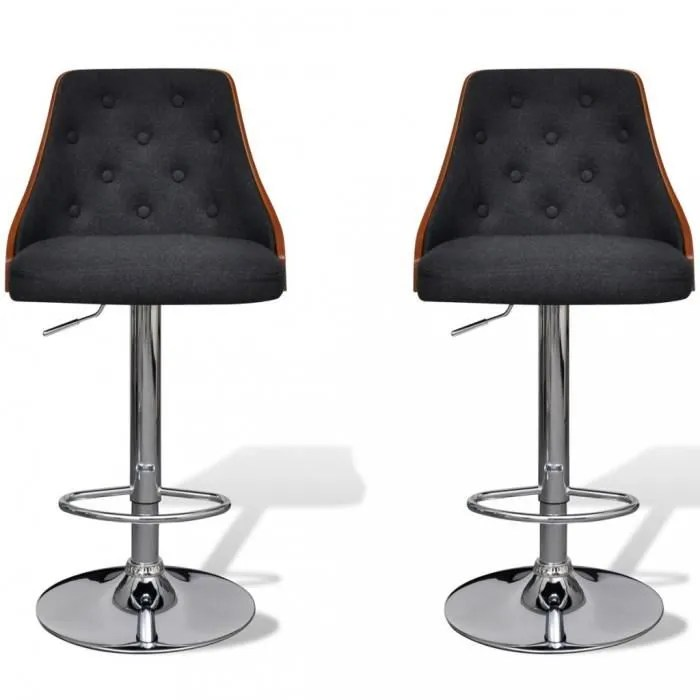 Chaises De Bar Lot De 2 Tabourets De Bar Reglables Avec - York Lot De 2 Tabourets De Bar Noir
