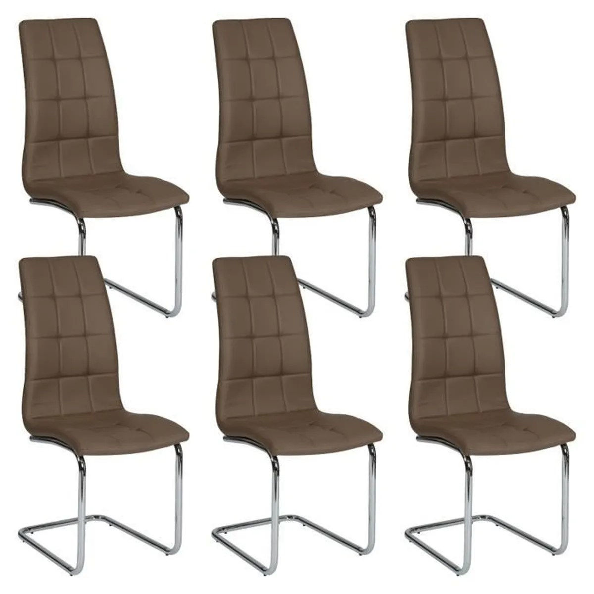 Lot De 6 Chaises Marron Cally Lot De 6 Chaises Moka Achat Vente Chaise Marron