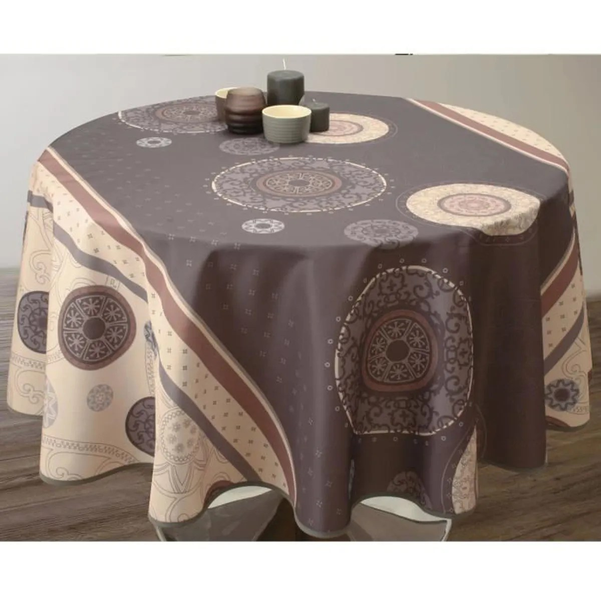Nappe De Table Ovale Nappe De Table Ovale Tzigane 150x240cm Marron Antitache