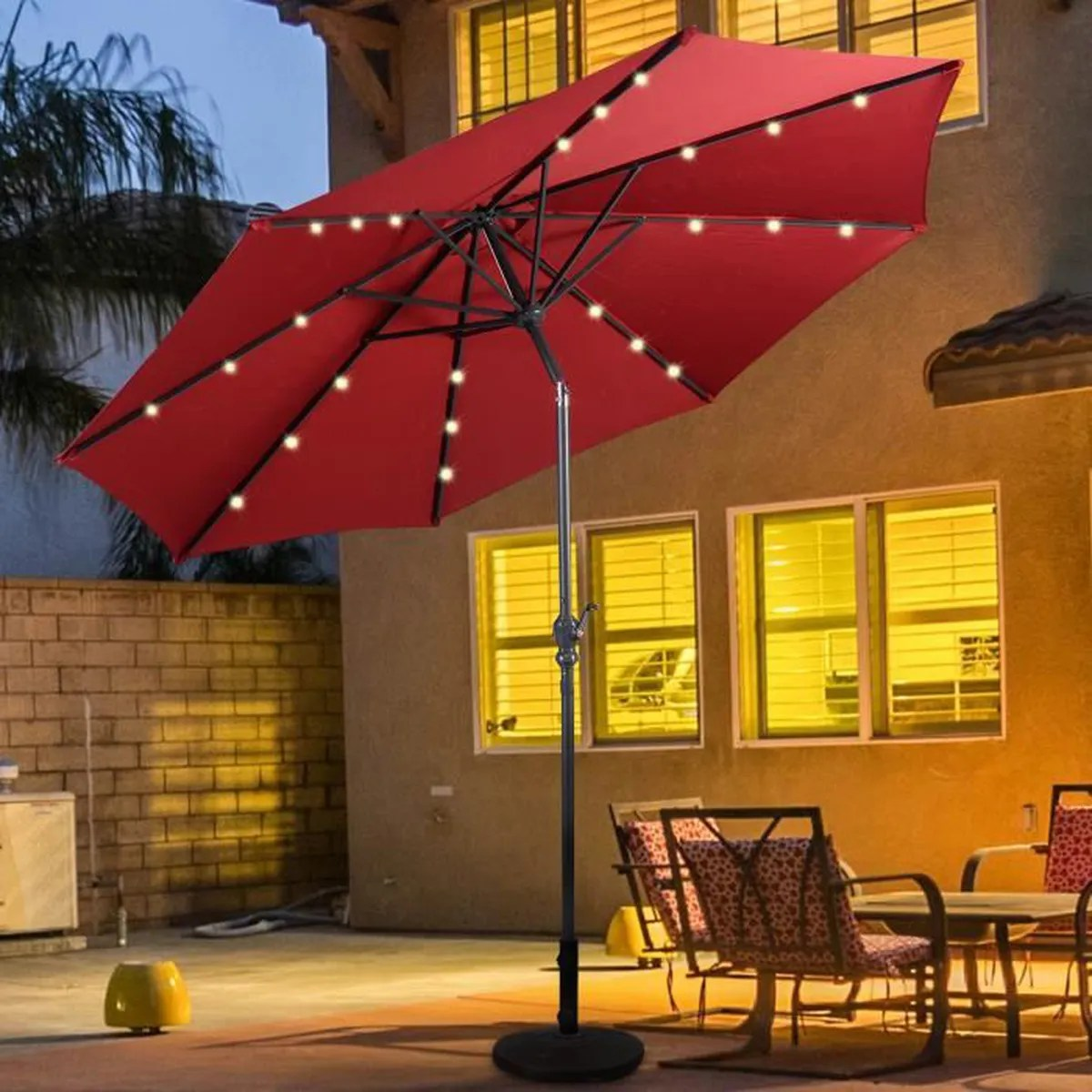 Eclairage Led Parasol Parasol Inclinable Diamètre 3m Avec Led En Acier Patio