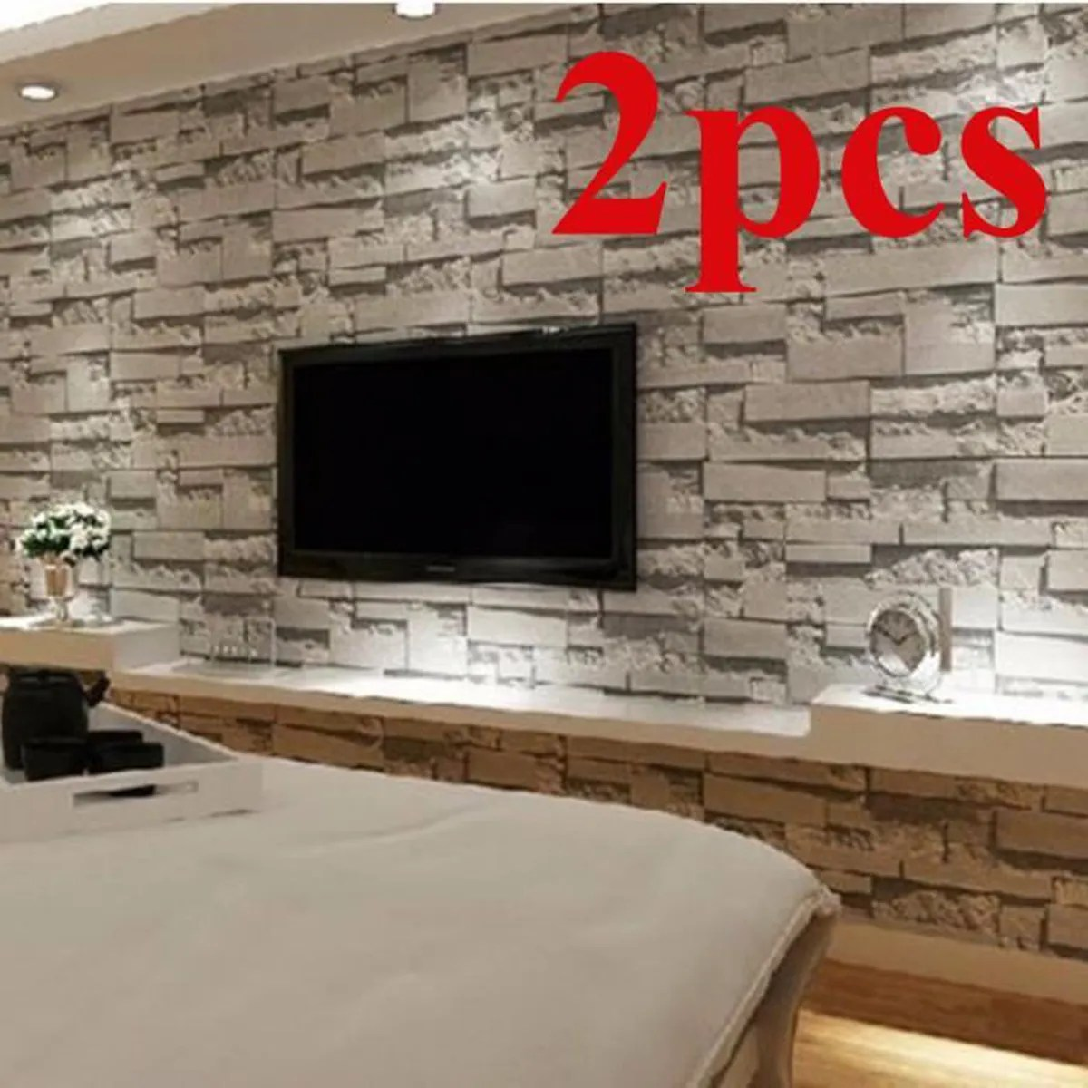 Tele Mur 2pcs 3d Brique Papier Peint Fond Tv Mur Wallpaper Decor Salon
