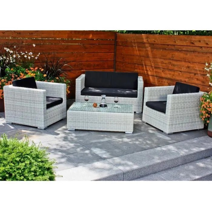 Salon De Jardin Resine Tressee 2 Fauteuils 1 Table | Salon Bas D ...