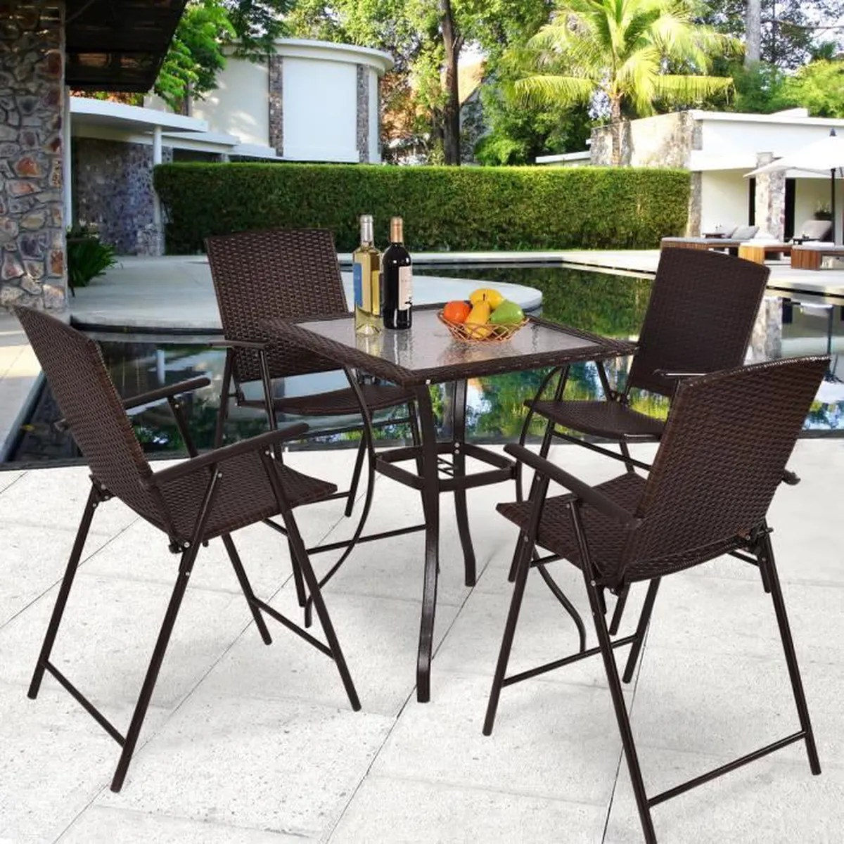 Ensemble Table Et Chaise En Rotin Ensemble De Jardin Pliant Poly Rotin 4 Chaise Et 1 Table