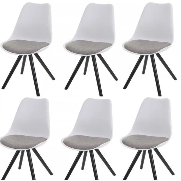 Lot de 6 chaises de salle à manger rétro blanc tissu gris pieds bois