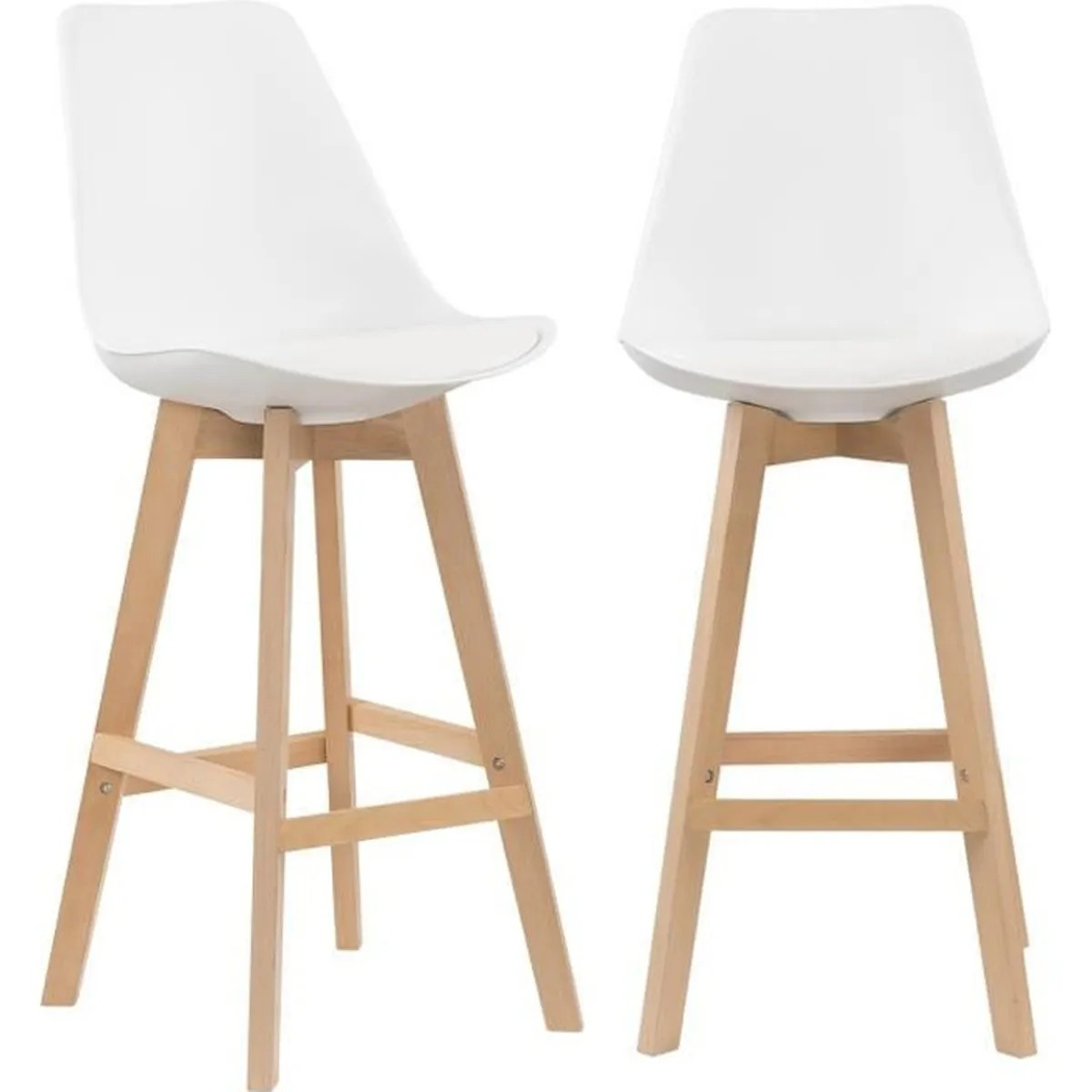 Tabouret Bar Cocktail Scandinave Lot De 2 Tabourets De Bar Scandinave Blanc Pieds En Bois