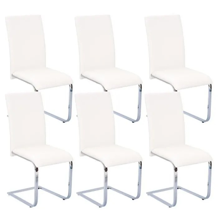 Lot De 6 Chaises Blanches Brooklyn - Lot 6 Chaises Blanches - Achat / Vente Chaise