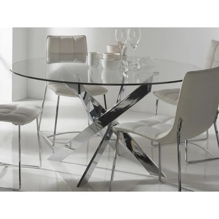 Table A Manger Ronde Verre Achat Vente Table A Manger - Table Salle A Manger Ronde Laque Blanc