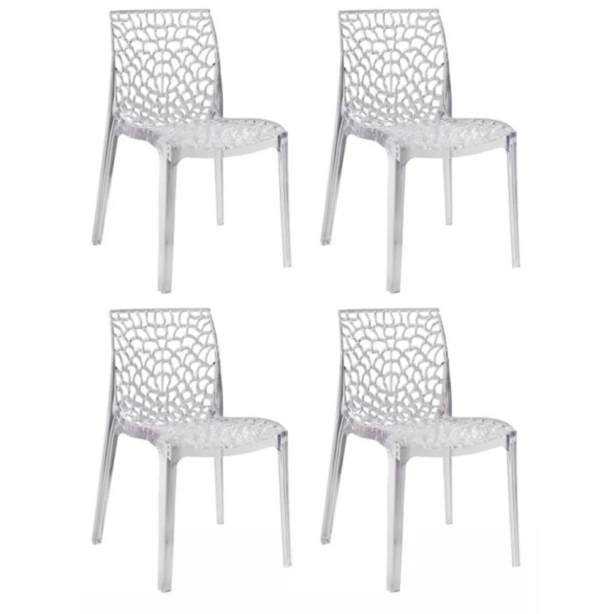 Lot 4 Chaises Transparentes Lot De 4 Chaises Design Transparentes Collection Gruyer Achat