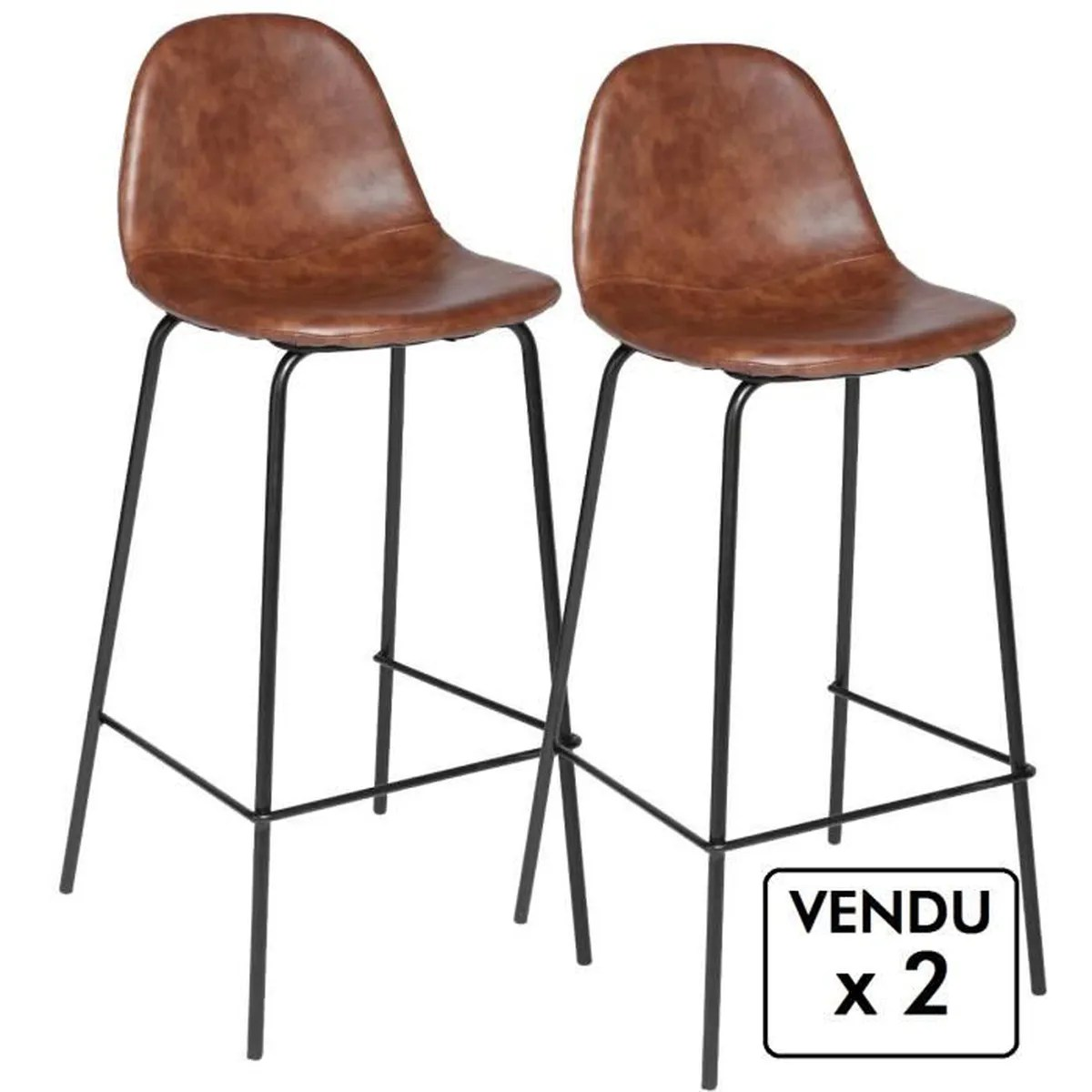 Chaise De Bar Marron Lot De 2 Chaises De Bar Style Industriel Coloris Marron