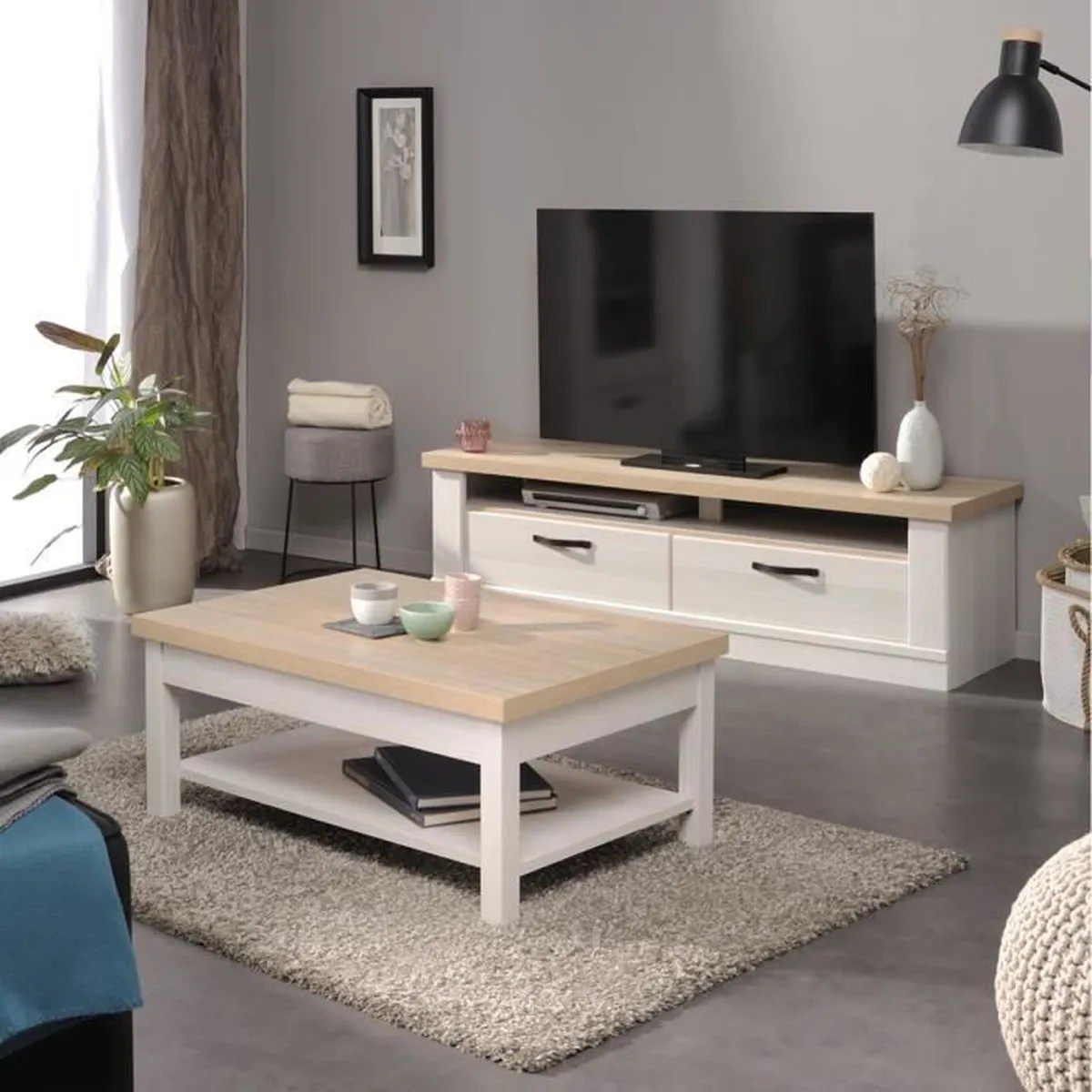 Meuble Tv Largeur 60 Cm Clarence Ensemble Table Basse Meuble Tv Achat Vente Table
