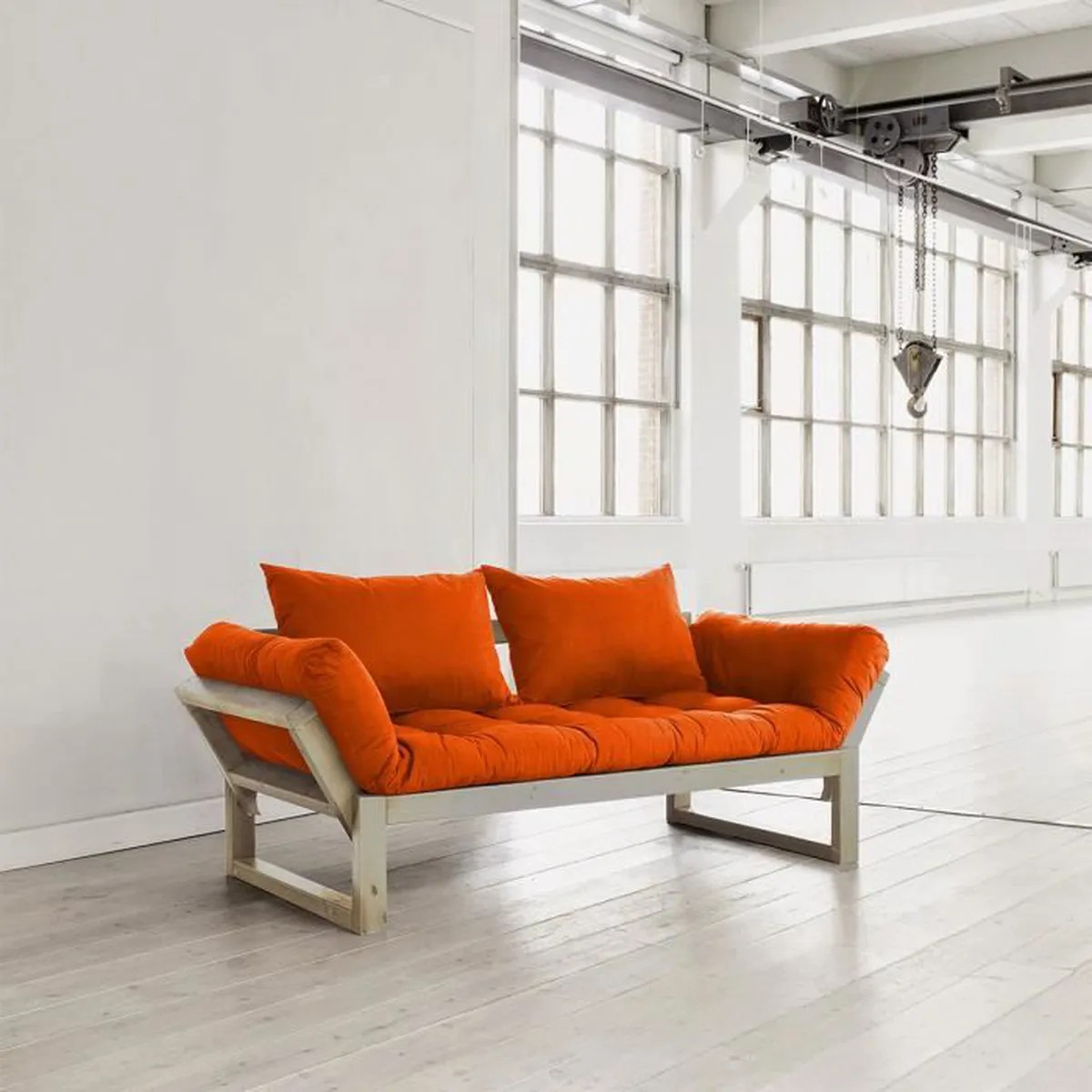 Canapé Convertible 180 Cm Canapé Convertible Edge 180 Cm Bois Naturel Futon Orange Naturel