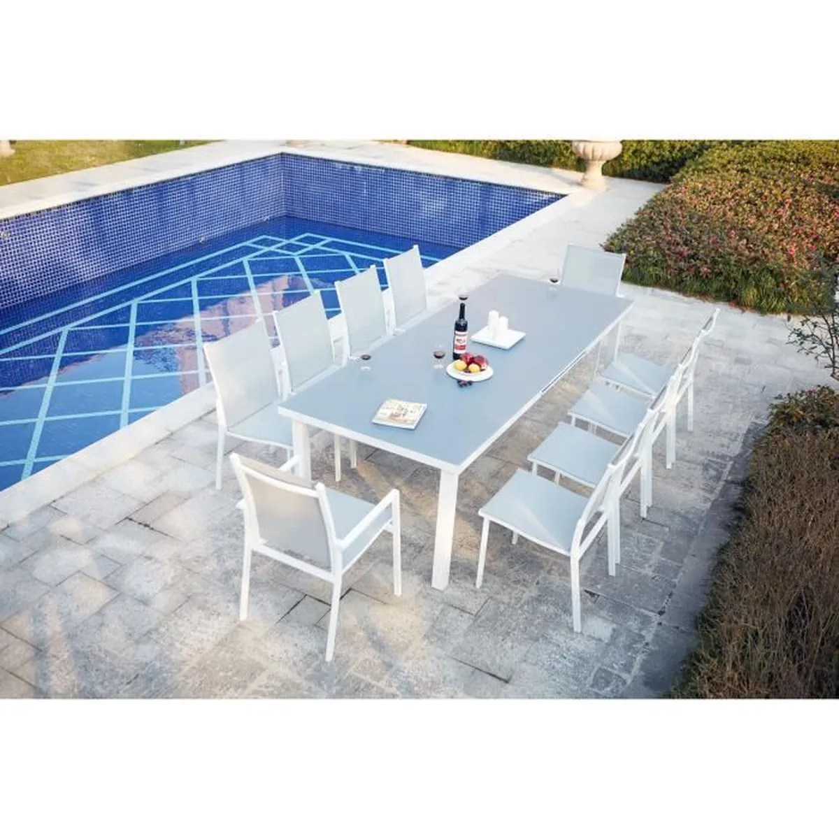 Table De Jardin Extensible 200/260cm En Aluminium Et 8 Fauteuils En ...
