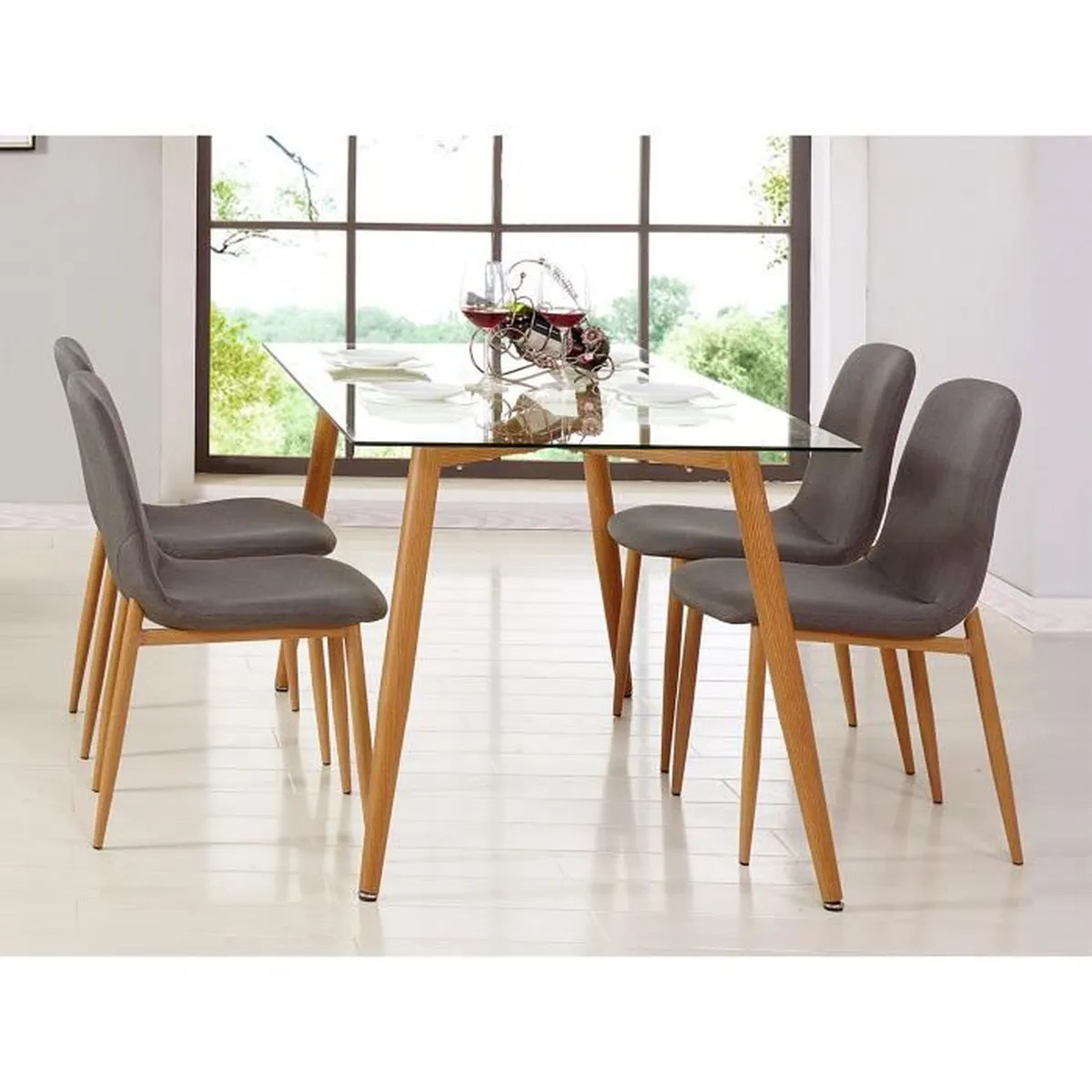 Table Chaises Scandinaves Table En Verre 4 Chaises Scandinave Nordi
